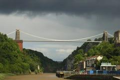 Clifton Suspension Bridge. Bristol, UK, under stormy skies Royalty Free Stock Photography
