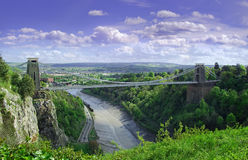 Clifton suspension bridge. An image of Clifton suspension bridge with storm clouds rising high above royalty free stock photography