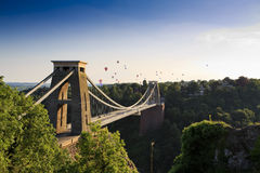 Clifton suspension bridge and Balloon Fiesta. Bristol, UK Royalty Free Stock Image
