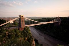 The Clifton Suspension Bridge Bristol. As the sun is waining Royalty Free Stock Photography
