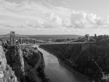 Clifton Suspension Bridge in Bristol in black and white Stock Image
