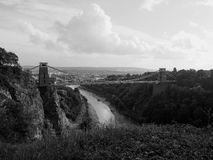 Clifton Suspension Bridge in Bristol in black and white Stock Photography