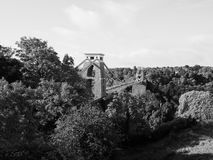 Clifton Suspension Bridge in Bristol in black and white Royalty Free Stock Image