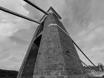 Clifton Suspension Bridge in Bristol in black and white Royalty Free Stock Photos