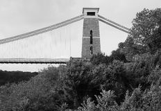 Clifton Suspension Bridge in Bristol in black and white Royalty Free Stock Photography