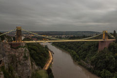 Clifton Suspension Bridge [Bristol, United Kingdom. Clifton Suspension Bridge in Bristol, United Kingdom after Sunset royalty free stock photos