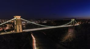Clifton Suspension Bridge. And the Portway, Bristol taken at Night Royalty Free Stock Image