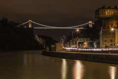 Clifton Suspension Bridge from Cumberland Basin. Clifton Suspension Bridge from the Cumberland Basin in Bristol.  A Night shot, about 10pm Stock Photos