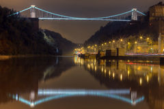 Clifton Suspension Bridge at night. A night scene of the Clifton Suspension Bridge in Bristol, England with the River Avon and the Avon Gorge in the background Stock Image