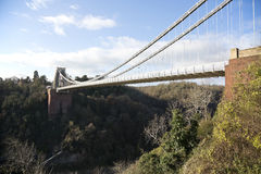 Clifton suspension bridge on a sunny winter day Royalty Free Stock Photo