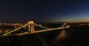 Birstol Skyline and Clifton Suspension Bridge. Clifton Suspension Bridge, taken on the Clifton Downs near the Observatory.  Looking out over the City Royalty Free Stock Images