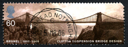 Clifton Suspension Bridge UK Postage Stamp. GREAT BRITAIN - CIRCA 2006: A used postage stamp from the UK, depicting an image of Clifton Suspension Bridge stock images