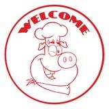 Clignant de l'oeil à caractère de mascotte de Pig Face Cartoon de chef la bannière rouge de cercle avec l'accueil des textes illustration libre de droits