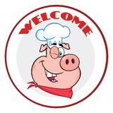 Cligner de l'oeil la bannière de cercle de caractère de mascotte de Pig Face Cartoon de chef avec l'accueil des textes illustration de vecteur