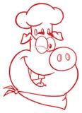Cligner de l'oeil le caractère de mascotte de Pig Face Cartoon de chef dans la couleur rouge illustration de vecteur