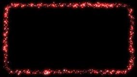 Clignotement Dot Garland - rouge de cadre de lumière de Noël banque de vidéos