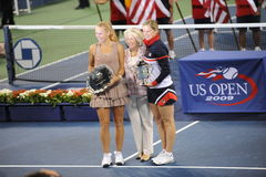 Clijsters and Wozniacki winners US Open 2009. Clijsters is champion and Wozniacki is runner-up of US Open 2009 Royalty Free Stock Photos