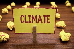 Clima del texto de la escritura de la palabra Concepto del negocio para las condiciones atmosféricas en área durante largos perio fotografía de archivo libre de regalías