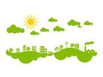 Clima verde creativo astratto della città di eco illustrazione vettoriale
