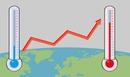 Climat changeant sur la terre avec la carte Images stock