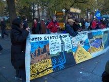 Climat global mars et Rassemblement-nouvelle ville de York, NY Etats-Unis Photos libres de droits