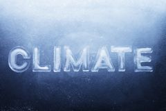 Climate. Word Climate made of real ice letters on ice background stock image