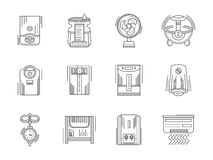 Climate appliances linear icons set Stock Image