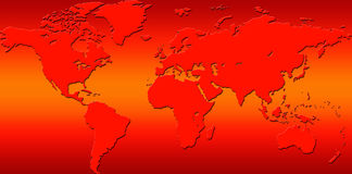 Climate change. Conceptual image of a red hot world map for a postcard, background, clip art, backdrop or environmental issues, climate change and rising Royalty Free Stock Image