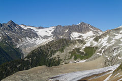 Climate Change. Mountains where glaciers used to be present before the climate change Royalty Free Stock Photo