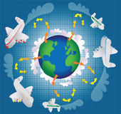 Climate change and air travel stock illustration