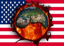 Climate change and American flag. USA and global warming Royalty Free Stock Photo