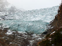 Climate change. Bossons glacier receding because of the climate change royalty free stock photo