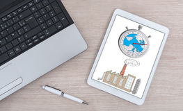 Climate change concept on a digital tablet Stock Photography