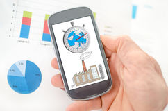 Climate change concept on a smartphone. Held by a hand Royalty Free Stock Photography