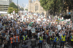 Climate change Demo london 2016. Climate change demo crowd shot from the top of the open top bus parker across the road looking down parlement road back towards Stock Image