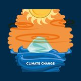Climate change design. With global warming effect with the sun melting the glaciers over white background, colorful design vector illustration Royalty Free Stock Photos