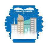 Climate change design. With snowfall over the city on white background, colorful design vector illustration Royalty Free Stock Photography