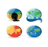 Climate change design. Climate change effects icon set over white background, colorful design vector illustration Stock Photos