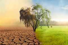 Free Climate Change Drought And Green Aboundance Fields Compare Stock Photography - 165750082