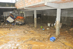 Climate Change: Extreme Flood in Brazil. Inside a humble home showing the action of the biggest flood of the last 70 years in the central Brazil Stock Image