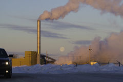 Climate change from factory exhaust fumes Stock Images