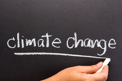 Climate change. Hand writing Climate change topic on chalkboard Royalty Free Stock Images