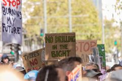 Climate Change - Ides of March 2019. Adelaide, AU - March 15, 2019: Thousands of students in Adelaide gather outside of Parliament House demanding action on stock photography