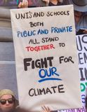 Climate Change - Ides of March 2019. Adelaide, AU - March 15, 2019: Thousands of students in Adelaide gather outside of Parliament House demanding action on stock photos