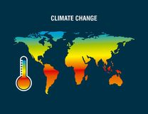 Climate change map earth thermometer color degraded. Vector illustration vector illustration