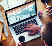 Climate Change Natural Planet Temperature Concept. People Thinking and Drafting Ideas Stock Photo