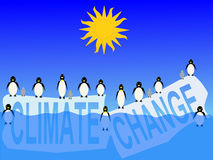 Climate change with penguins Royalty Free Stock Image