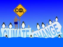 Climate change with penguins stock illustration