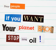 Climate change ransom note Stock Images