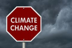 Climate change red stop highway road sign Royalty Free Stock Photos